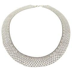 Estate Platinum Diamond Cut Mesh Beaded Woven Fashion Necklace
