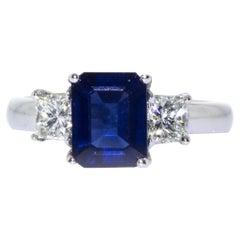 Estate Platinum Emerald Cut Sapphire and Diamond Ring