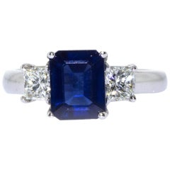 Estate Platinum Emerald Cut Sapphire and Diamond Ring