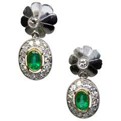Estate Platinum Emeralds and Old Mine Diamond Earrings