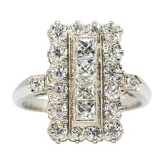 Estate Platinum French Cut Diamonds Ring