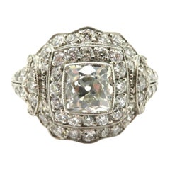 Estate Platinum GIA Certified Art Deco Style Antique Diamond Engagement Ring