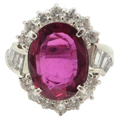 Estate Platinum GIA Certified Ruby and Diamond Halo Ring