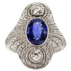 Estate Platinum GIA Ceylon Sapphire and Diamonds Ring