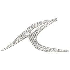 Estate Platinum Large Diamond Brooch