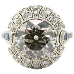 Estate Platinum Old European Cut Diamond and Sapphire Art Deco Ring