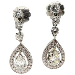 Estate Platinum Pear Shaped and Round Diamond Fashion Statement Earrings