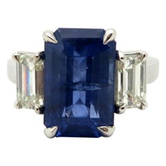 Estate Platinum Three-Stone Emerald Cut Diamond and Sapphire Engagement Ring