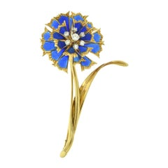 Estate Plique-à-Jour Blue Enamel and Diamond Gold Long Flower Brooch