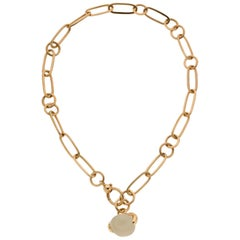 Estate Pomellato Oval-Shaped Cabochon Moonstone Necklace in Rose Gold