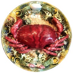 Estate Portuguese Hand Painted Majolica Seafood Plate, Small Crab Design