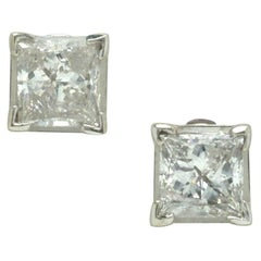 Estate Princess Cut Diamond Studs 1.30 Carat Earrings EGL Certified G-H Color