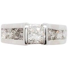 Estate Princess Cut White Diamond Ring in 14 Karat White Gold