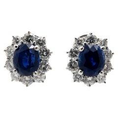 Estate Princess Diana Style 18K Oval Blue Sapphire and Diamond Halo Earrings