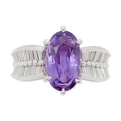 Estate Purple Sapphire and White Diamond Cocktail Ring in Platinum