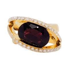 Estate Red Garnet and White Diamond Cocktail Ring in 18 Karat Yellow Gold
