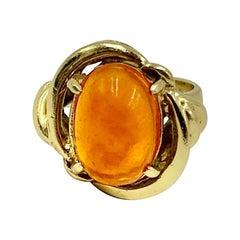Estate Retro Fire Opal 14k Yellow Gold Ring