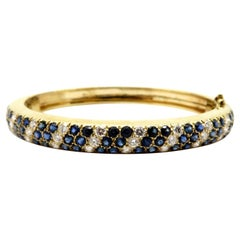 Estate Round Diamond and Sapphire 14 Karat Yellow Gold Fashion Bangle Bracelet