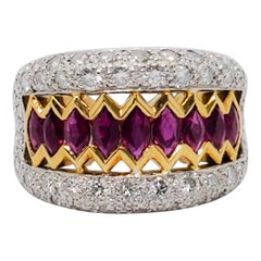 Estate Ruby and White Diamond Band Ring in Platinum and 18 Karat Yellow Gold