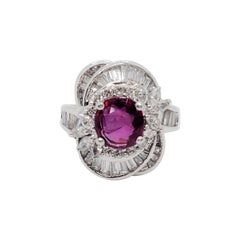 Estate Ruby and White Diamond Cocktail Ring in Platinum