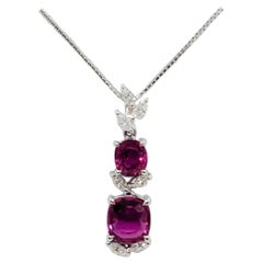 Estate Ruby Cushion and Oval Pendant Necklace in 18 Karat White Gold