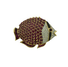 Estate Ruby, Diamond, and Black Onyx in Yellow Gold Large Fish Brooch / Pin