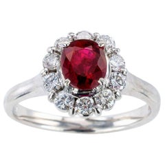 Estate Ruby Diamond Platinum Engagement Ring
