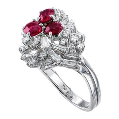 Estate Ruby Diamond White Gold Cocktail Ring
