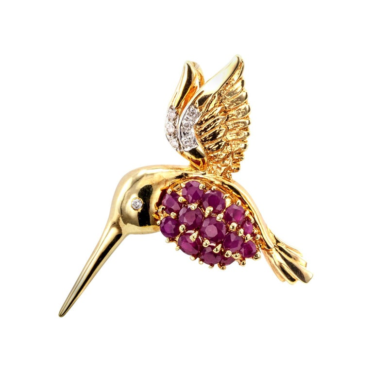 Estate Ruby Diamond Yellow Gold Hummingbird Brooch Pendant For Sale