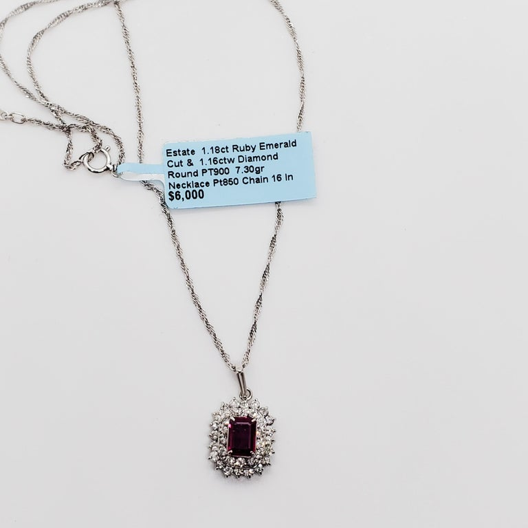 Women's or Men's Estate Ruby Emerald Cut and White Diamond Pendant Necklace in Platinum For Sale