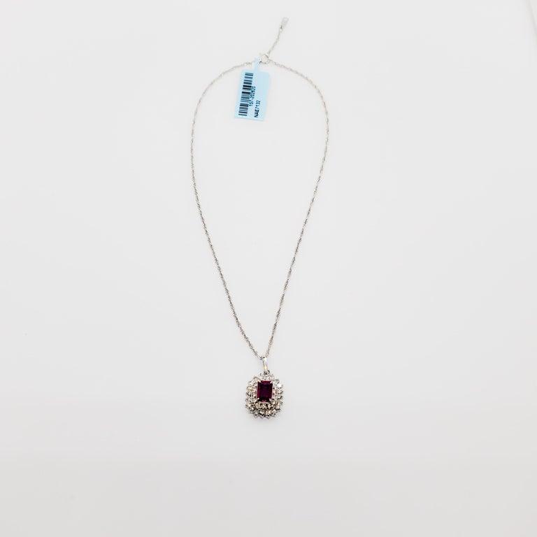Estate Ruby Emerald Cut and White Diamond Pendant Necklace in Platinum For Sale 1