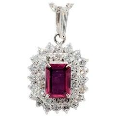 Estate Ruby Emerald Cut and White Diamond Pendant Necklace in Platinum