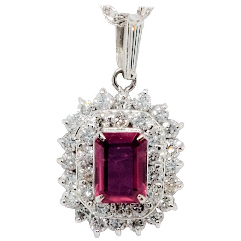 Estate Ruby Emerald Cut and White Diamond Pendant Necklace in Platinum For Sale