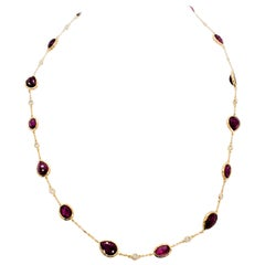 Estate Ruby Multi Shape and White Diamond Necklace in 18 Karat Yellow Gold