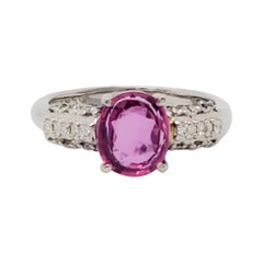 Estate Ruby Oval and Diamond Cocktail Ring in Platinum