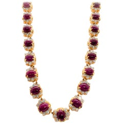 Estate Ruby Oval and White Diamond Necklace in 18 Karat Rose Gold