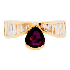 Estate Ruby Pear and White Diamond Cocktail Ring in 18 Karat Yellow Gold
