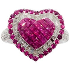 Estate Ruby Princess Cut, White Diamond, and Ruby Heart Shape Ring in 18 Karat