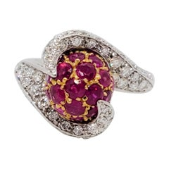 Estate Ruby Round and White Diamond Round Pave Bypass Ring