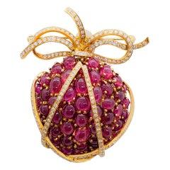 Estate Ruby Round and White Diamond Round Strawberry Brooch in 18 Karat Gold