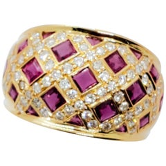Estate Ruby Square and White Diamond Cocktail Ring in 18 Karat Yellow Gold