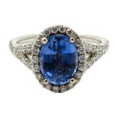 Estate Sapphire and Diamond 18 Karat White Gold Halo Ring
