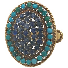 Estate Sapphire and Turquoise Ring Set in 18 Karat Yellow Gold