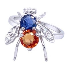 Estate Sapphire Diamond Fly Gold Ring