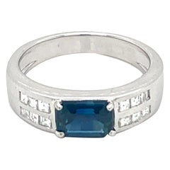 Estate Sapphire Diamond Gold Band Ring