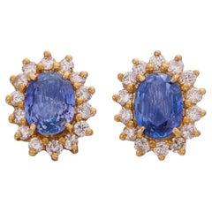 Estate Sapphire & Diamond Halo Stud Earrings