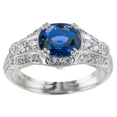 Estate Sapphire Diamond Platinum Engagement Ring