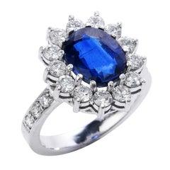 Estate Sapphire Diamond Platinum Flower Cocktail Ring