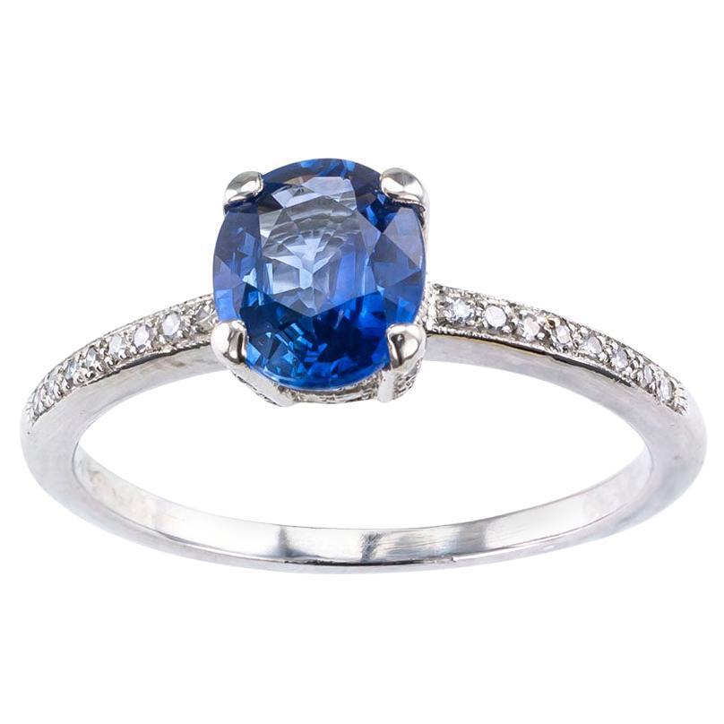 Estate Sapphire Diamond Platinum Solitaire Engagement Ring