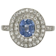 Estate Sapphire Engagement Ring Ceylon Cornflower Blue Platinum 2 Diamond Halo